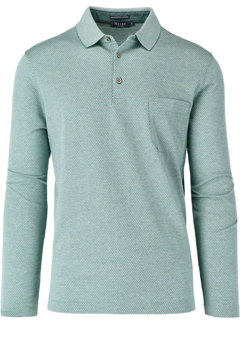 Maerz Modern Fit Sweatshirt Polokragen grün/weiss, gemustert 50