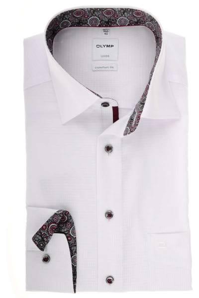 Olymp Luxor Comfort Fit Hemd weiss, Strukturiert