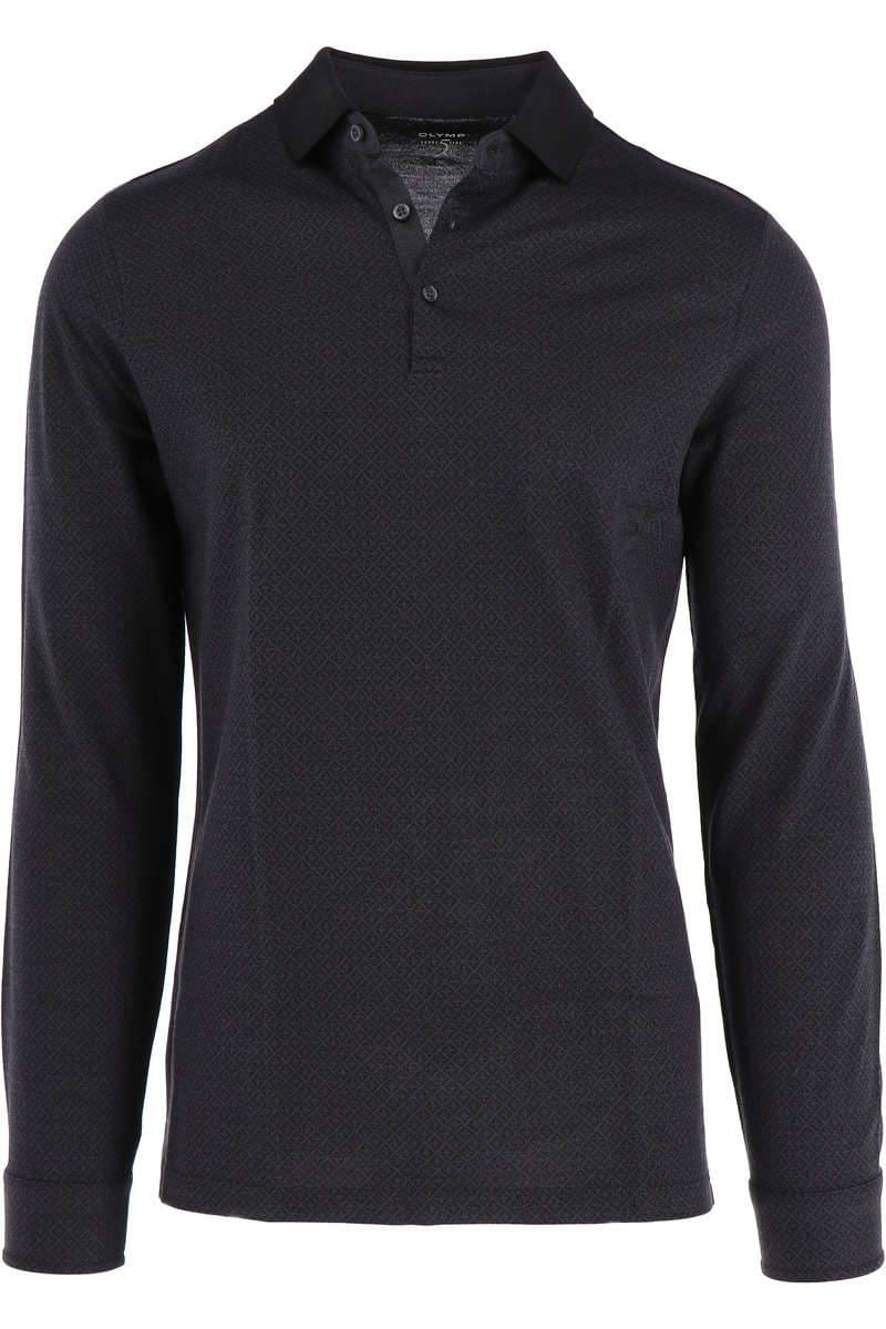 OLYMP Level Five Body Fit Longsleeve Poloshirt anthrazit, Gemustert