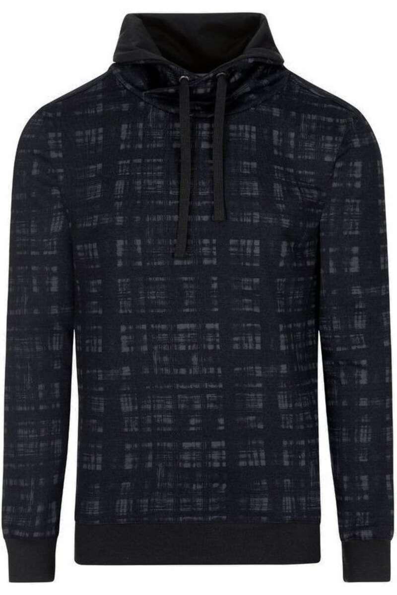 TRIGEMA Slim Fit Kapuzen Sweatshirt schwarz/grau, gemustert M