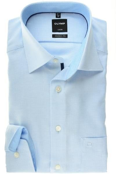 Olymp Hemd - Modern Fit - hellblau/weiss, Strukturiert