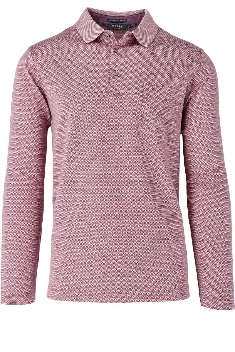 Maerz Modern Fit Sweatshirt Polokragen rot/weiss, gemustert 50
