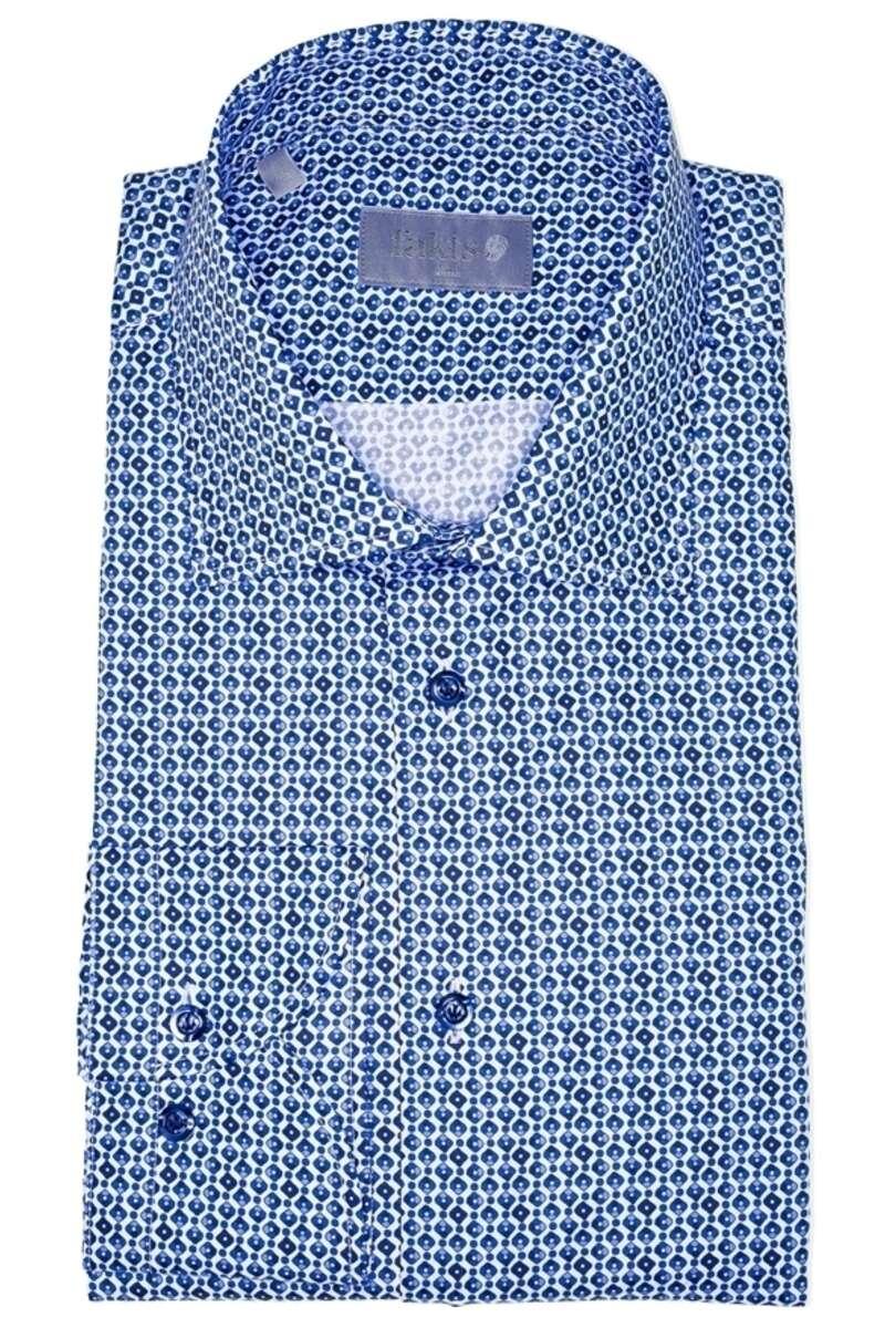 fakts Slim Fit Hemd dunkelblau/weiss, Gemustert 40 - M