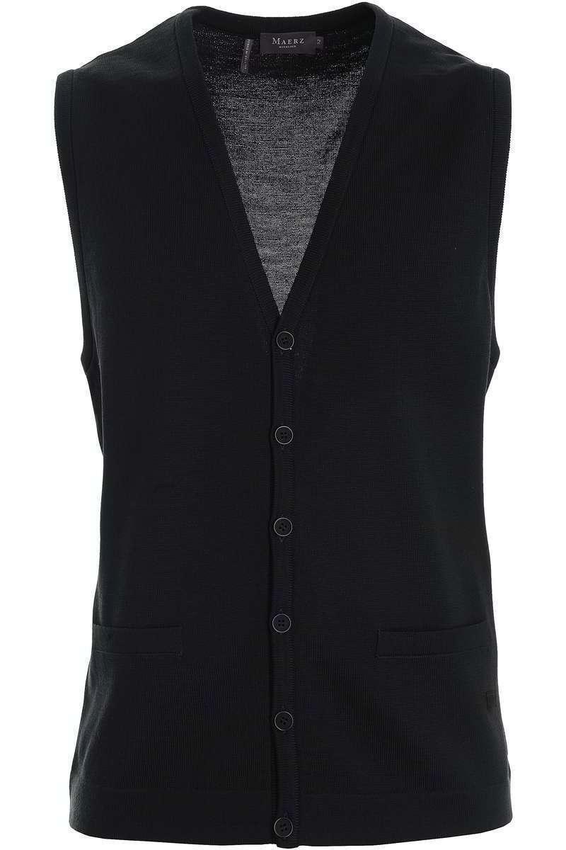 MAERZ Classic Fit Weste Knopfleiste schwarz, einfarbig 60
