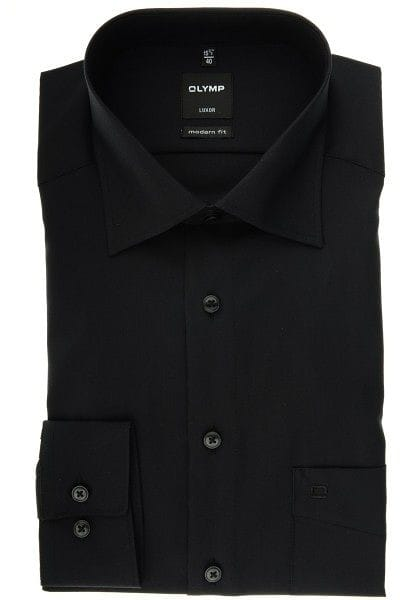 Olymp Luxor Modern Fit Hemd schwarz, Einfarbig