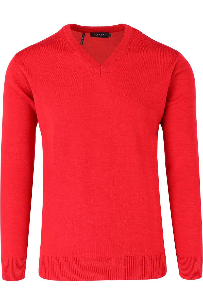 Maerz Classic Fit Pullover V-Ausschnitt rot, einfarbig 50