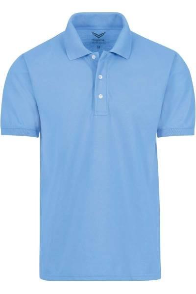 TRIGEMA Comfort Fit Poloshirt hellblau, Einfarbig