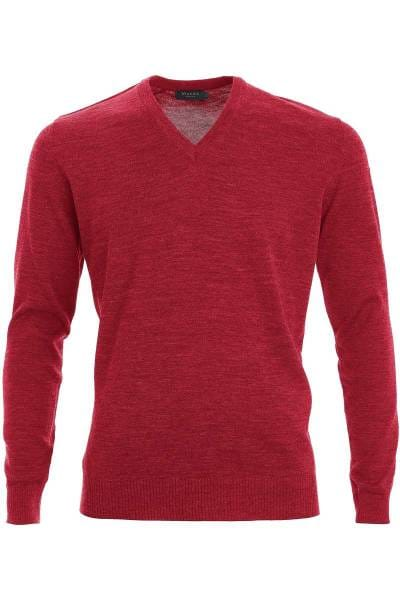 MAERZ Strickpullover Classic Fit V-Ausschnitt rot, einfarbig