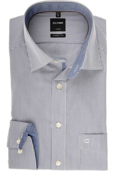 Olymp Luxor Modern Fit Hemd marine/weiss, Gestreift