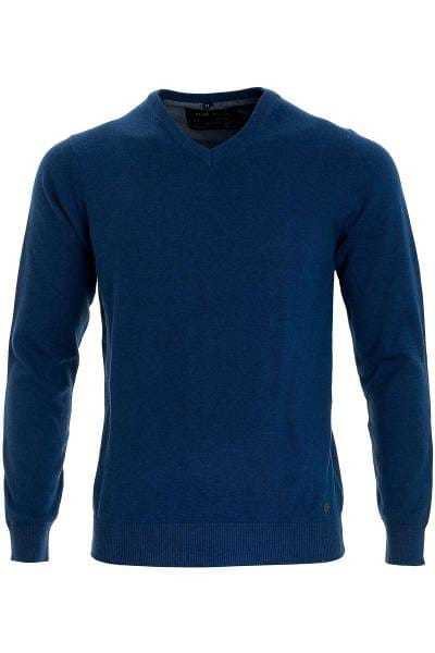 Marvelis Strickpullover V-Ausschnitt blau, einfarbig