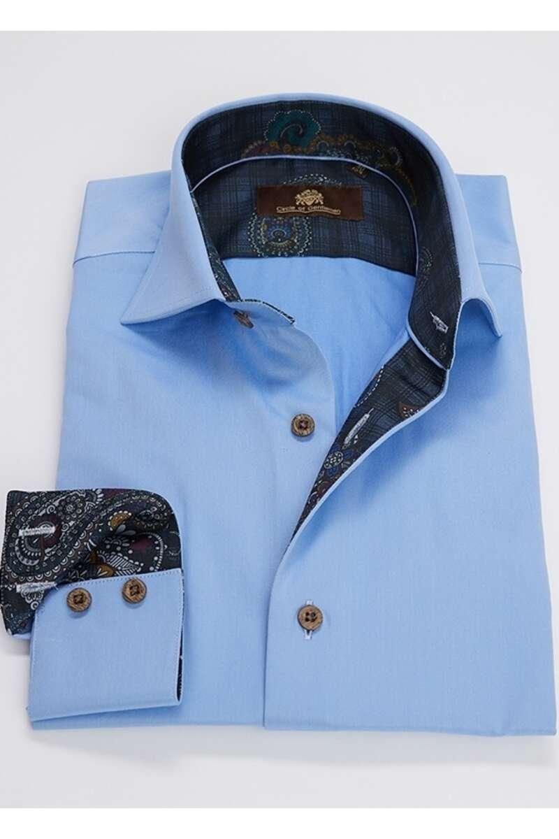 Circle of Gentlemen Evan Slim Fit Hemd blau, Einfarbig 42 - L