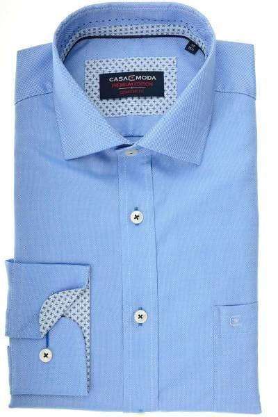 Casa Moda Comfort Fit Hemd mittelblau, Strukturiert