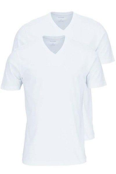 Olymp T-Shirt - V-Ausschnitt - weiss, Einfarbig