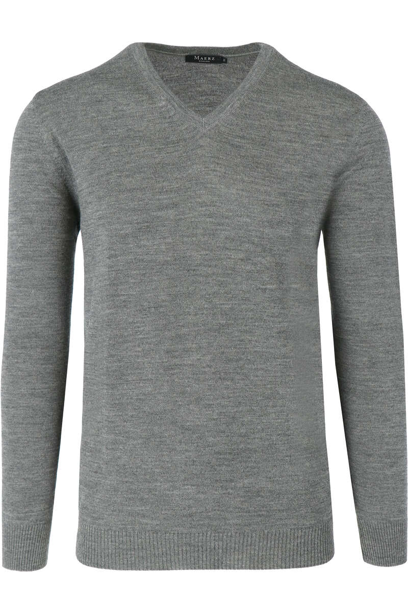 Maerz Modern Fit Pullover V-Ausschnitt hellgrau, einfarbig 56