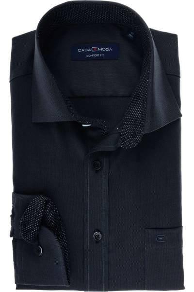 Casa Moda Comfort Fit Hemd anthrazit/schwarz, Strukturiert