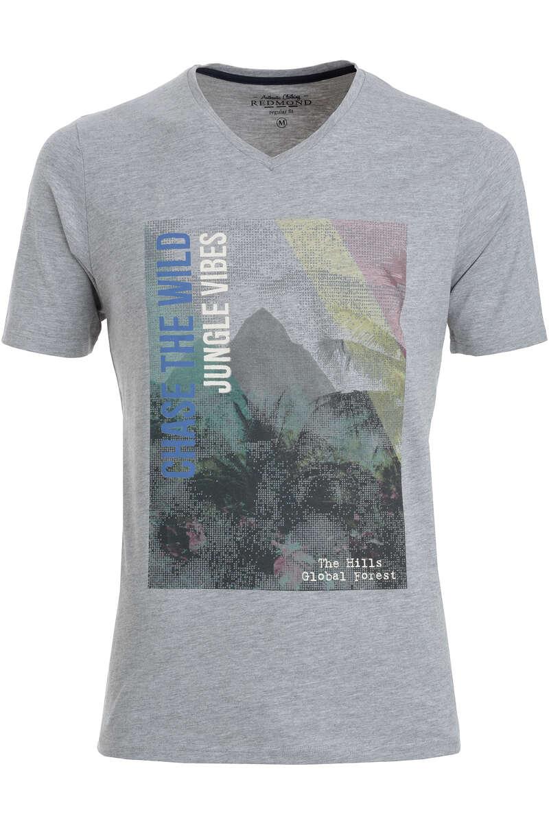 Redmond T-Shirt V-Ausschnitt grau, gemustert S