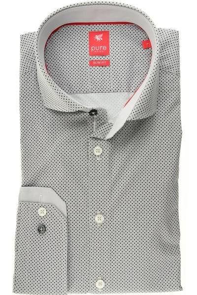 Pure Hemd - Slim Fit - grau/schwarz, Gemustert