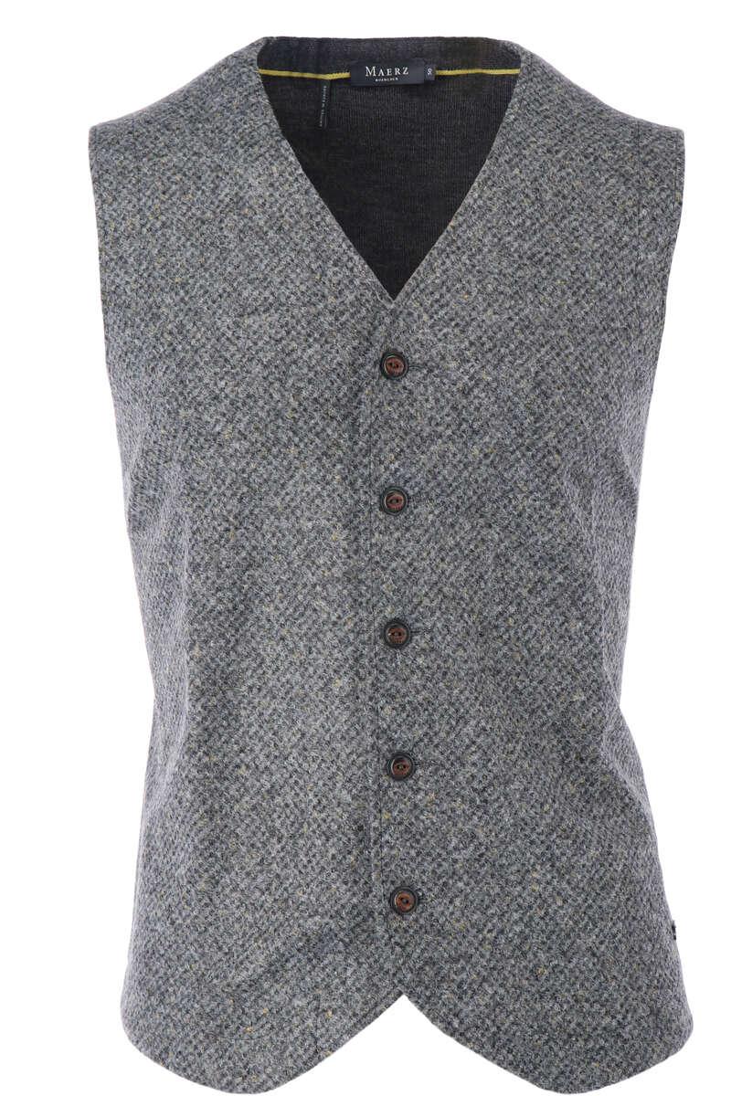 Maerz Modern Fit Weste V-Ausschnitt braun/grau, einfarbig 48