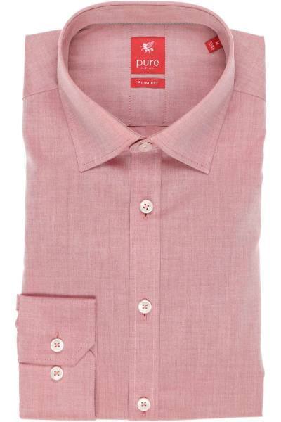 Pure Hemd - Slim Fit - rot, Einfarbig