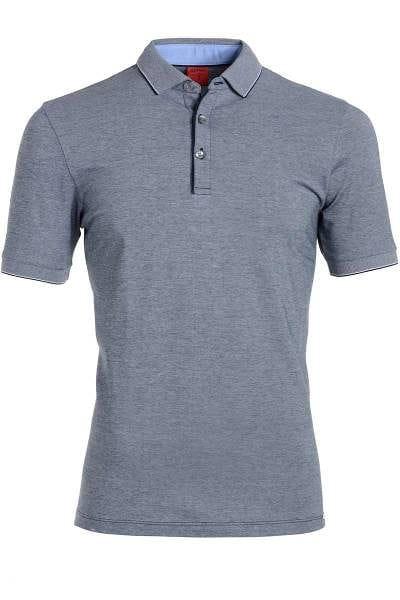 Olymp Level Five Body Fit Poloshirt blau/weiss, Zweifarbig