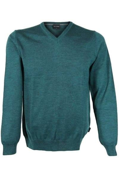 Olymp Strick - V-Ausschnitt Pullover - dunkelgrün