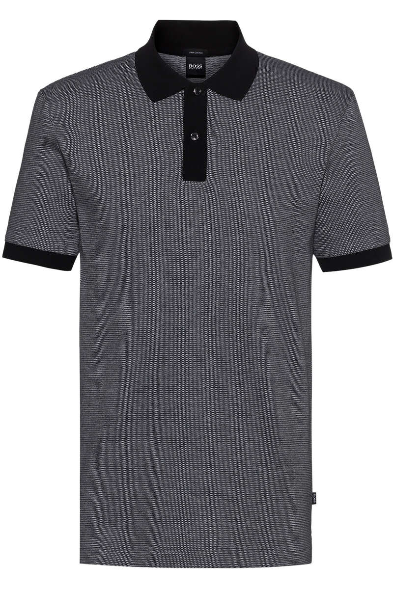 BOSS Regular Fit Poloshirt schwarz, Meliert M
