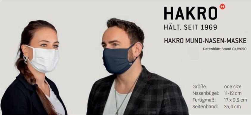 Mund-Nasen-Maske von HAKRO mit Logo