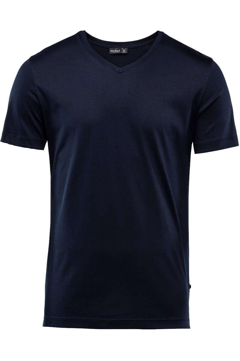 van Laack T-Shirt V-Ausschnitt dunkelblau, einfarbig M
