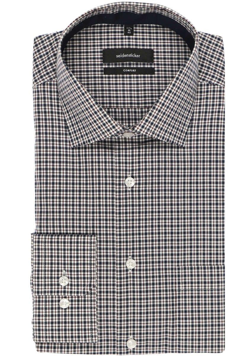 Seidensticker Comfort Fit Hemd rot/weiss, Kariert 42 - L