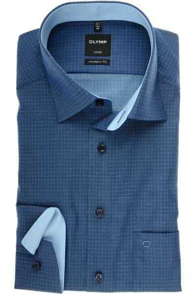 OLYMP Luxor Modern Fit Hemd marine/blau, Gepunktet