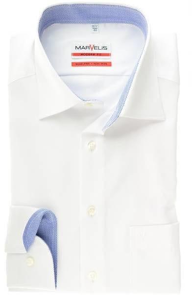 Marvelis Hemd - Modern Fit - weiss, Strukturiert