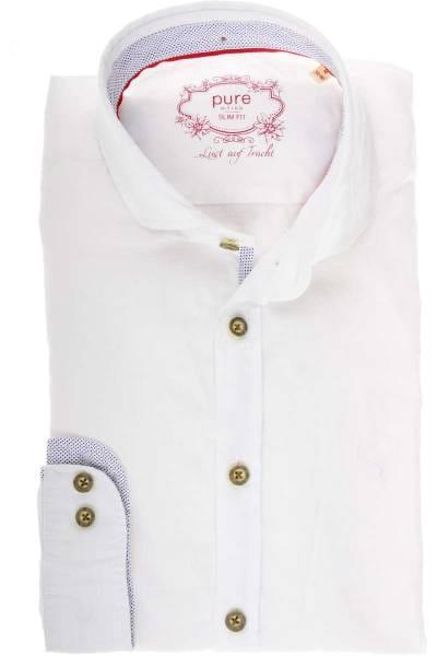 Pure Slim Fit Leinenhemd weiss, Einfarbig