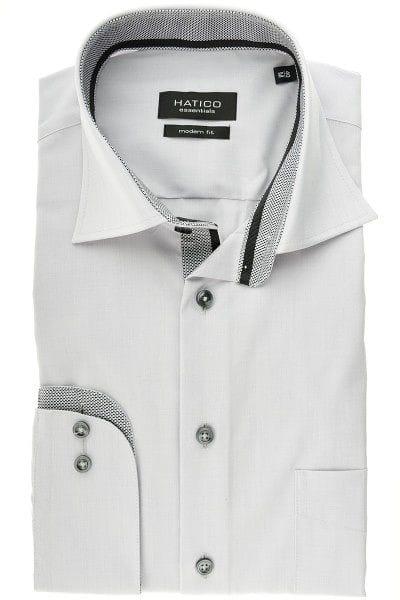 Hatico Hemd - Modern Fit - silber, Einfarbig