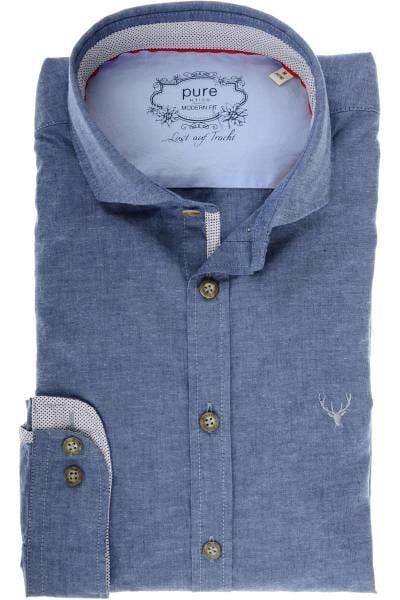 Pure Slim Fit Trachtenhemd mittelblau, Einfarbig