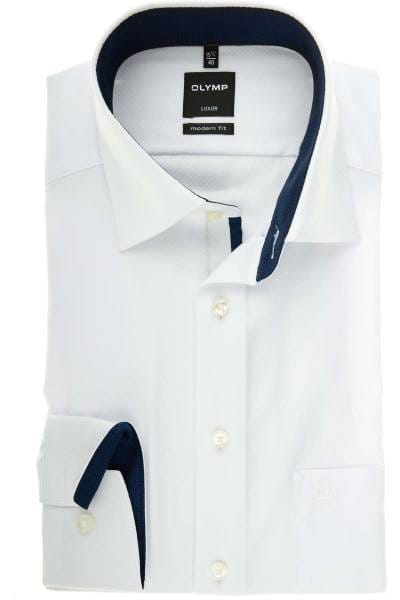 Olymp Luxor Modern Fit Hemd weiss, Gemustert