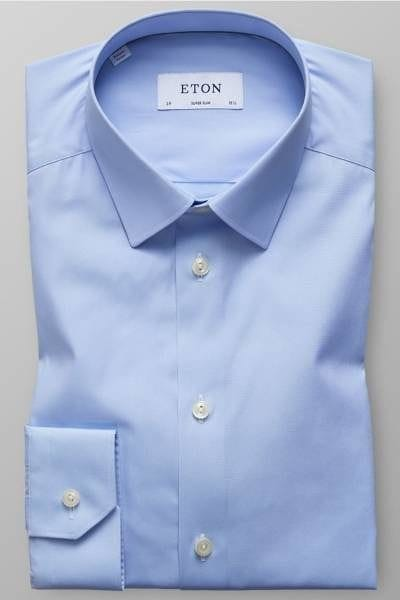 Eton Hemd - Super Slim - blau, Einfarbig