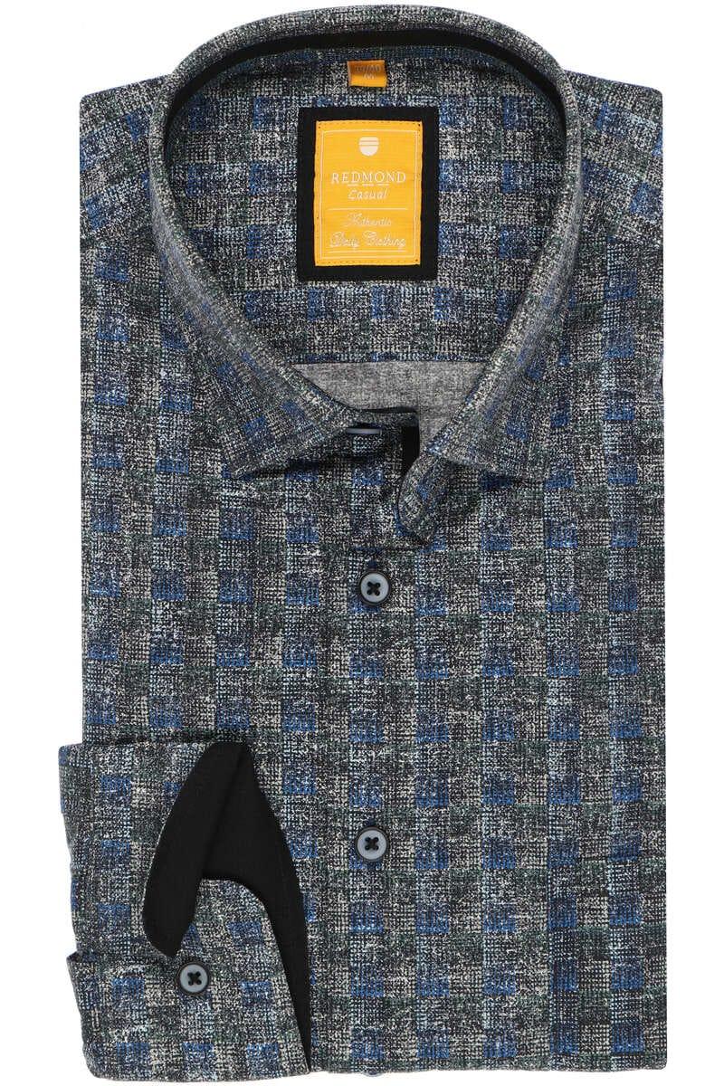 Redmond Modern Fit Hemd blau, Gemustert L