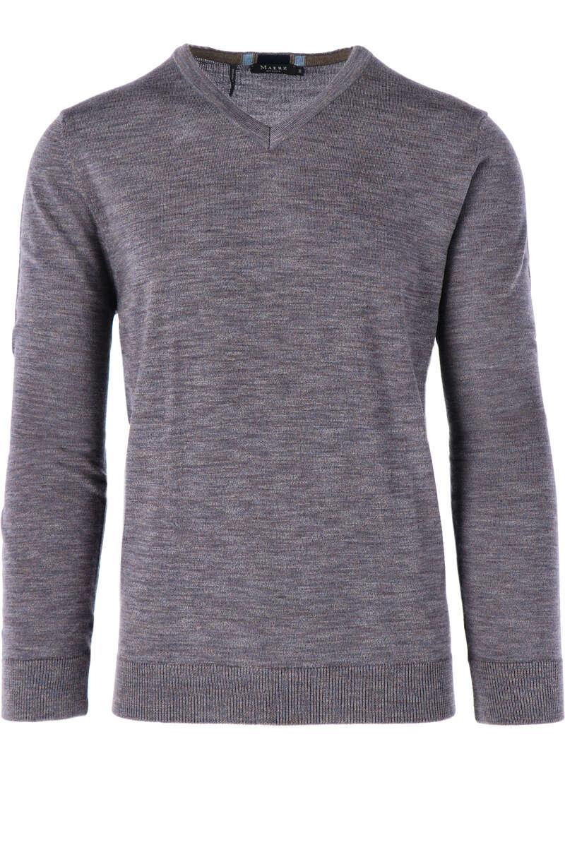Maerz Modern Fit Pullover V-Ausschnitt blau/braun, einfarbig 50