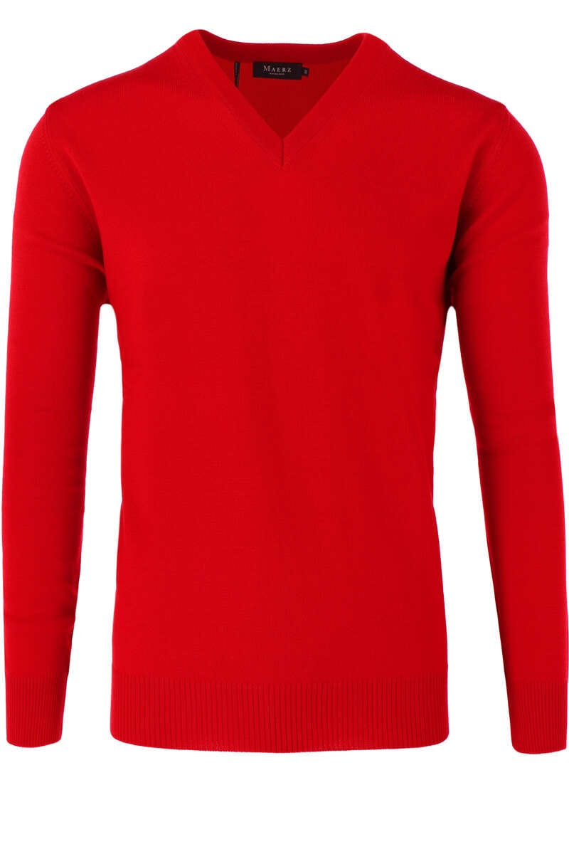 Maerz Casual Classic Fit Pullover V-Ausschnitt rot, einfarbig 50