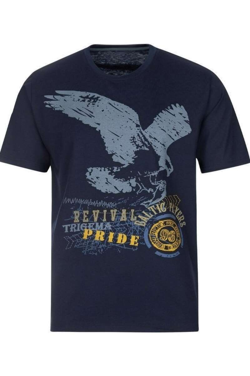 TRIGEMA Comfort Fit T-Shirt Rundhals navy, bedruckt M