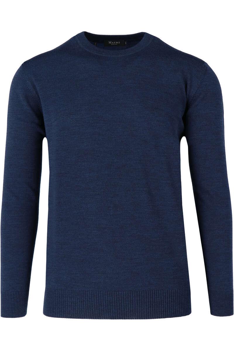 Maerz Classic Fit Pullover Rundhals dunkelblau, einfarbig 50