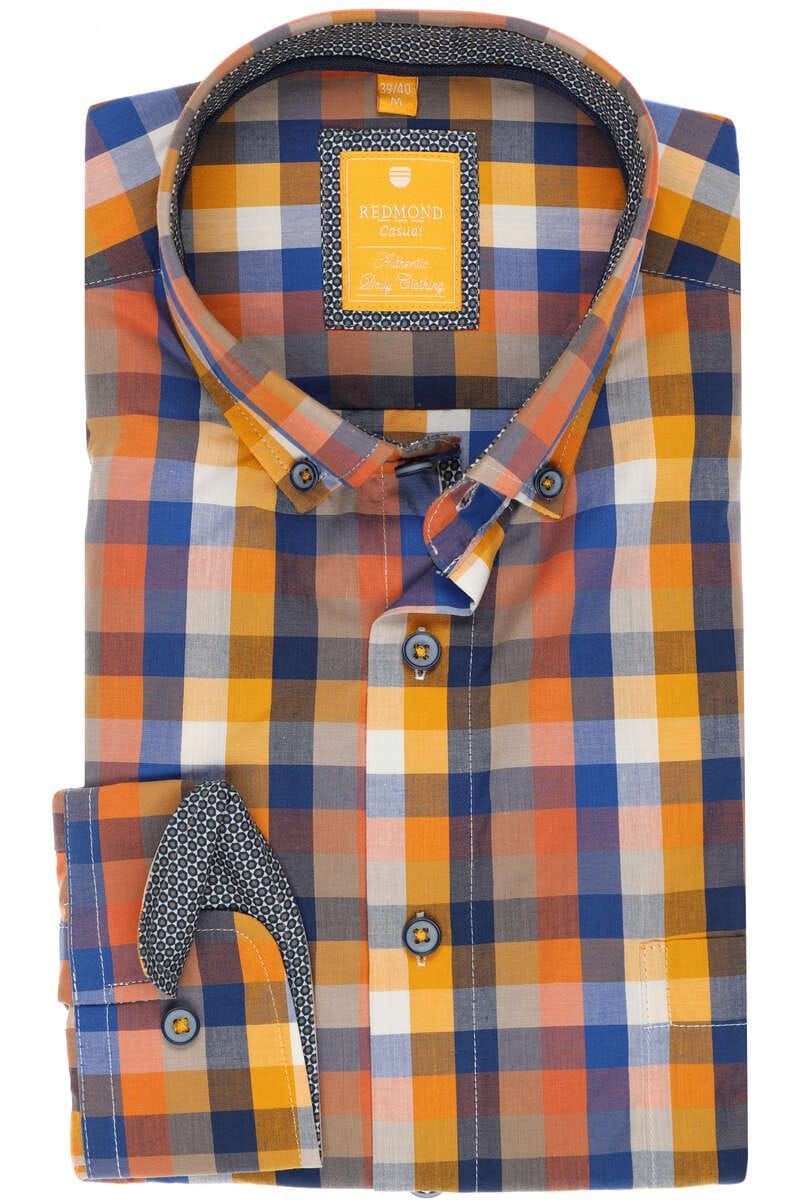 Redmond Regular Fit Hemd gelb, Strukturiert S