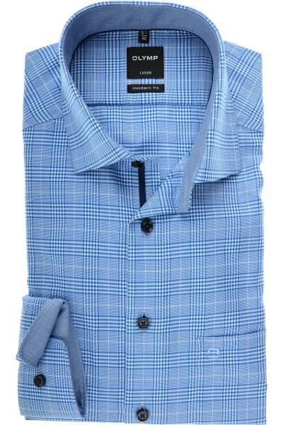OLYMP Luxor Modern Fit Hemd royal/weiss, Kariert