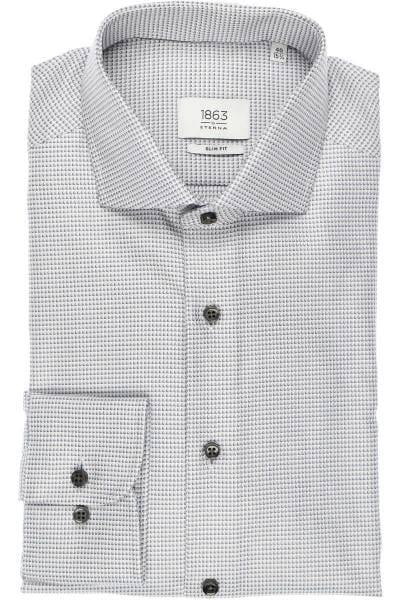 ETERNA 1863 Slim Fit Hemd grau/weiss, Strukturiert