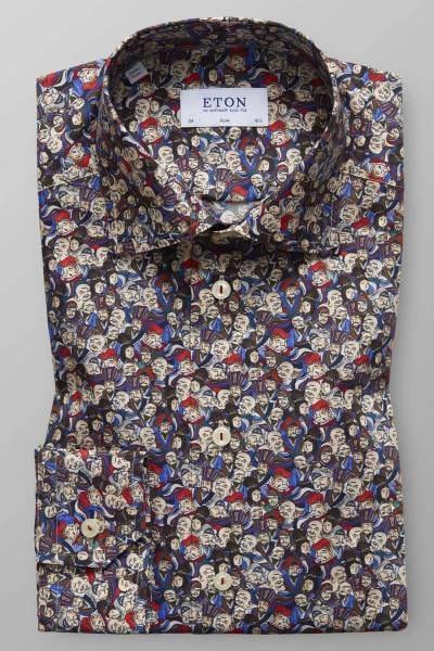 ETON Slim Fit Hemd braun/blau, Gemustert