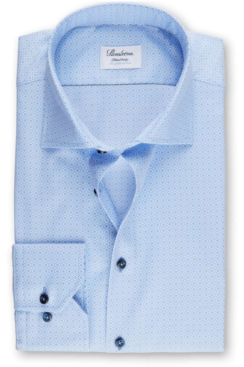 Stenströms Fitted Body Hemd blau, Gemustert 39 - M