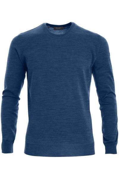MAERZ Strickpullover Classic Fit Rundhals blau, einfarbig