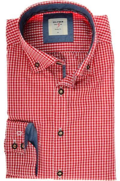 OLYMP Level Five Body Fit Trachtenhemd rot/weiss, Vichykaro
