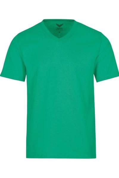 TRIGEMA T-Shirt V-Ausschnitt grün, einfarbig