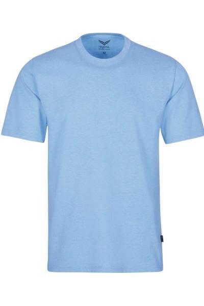 TRIGEMA T-Shirt Rundhals hellblau, melange